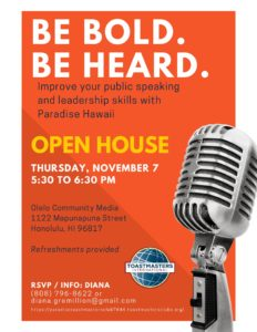 Flyer for Paradise Toastmasters Open House