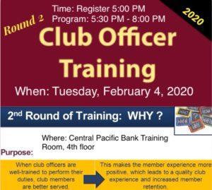Club Officers Training Flyer