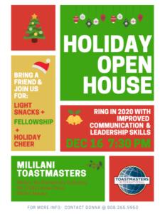 Mililani Toastmasters Holiday Open House