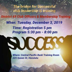 Club Officer Training, 2nd flyer