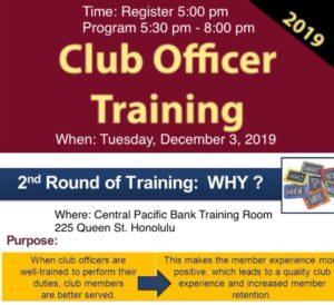 Club Officer Training Flyer